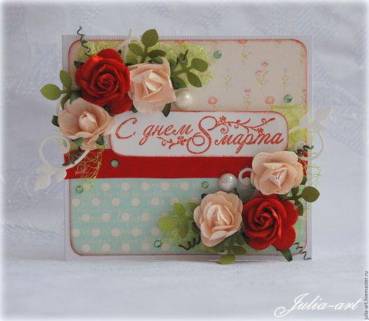 """Открытки для женщин, ручной работы. Ярмарка Мастеров - ручная работа. Купить Мини-открытка """"С 8 Марта!"""" (1). Handmade."""