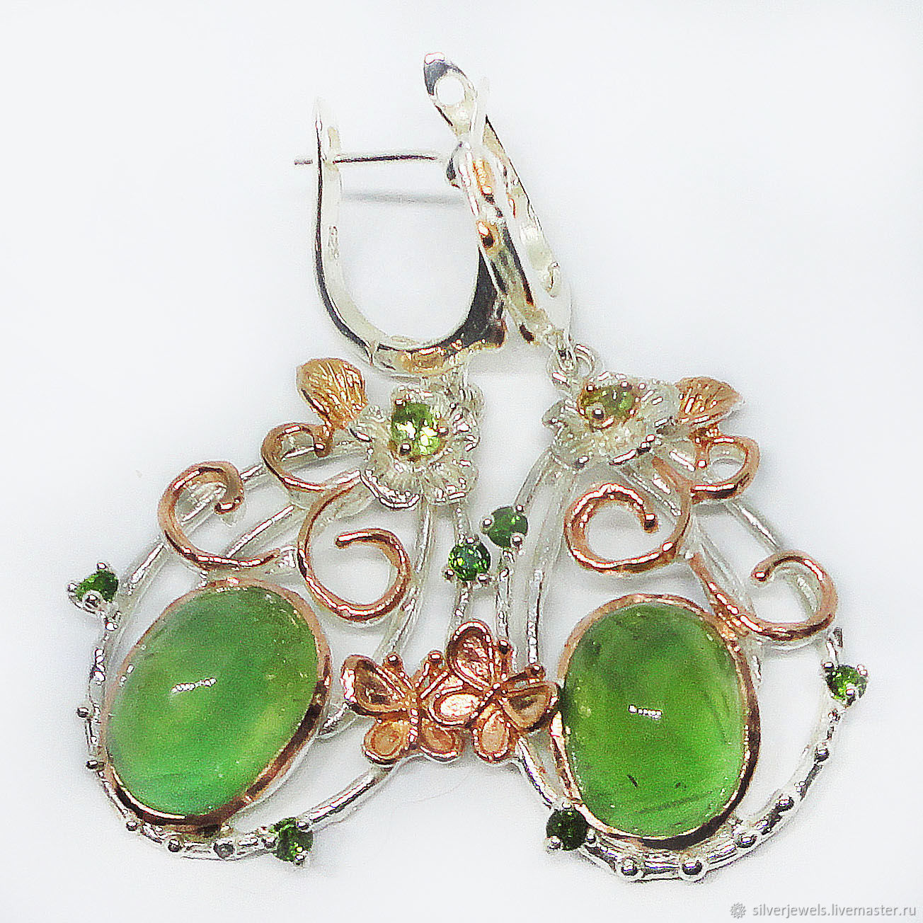 Earrings of silver 925 with prenite, chrysolites and chromediopsides, Earrings, Moscow,  Фото №1