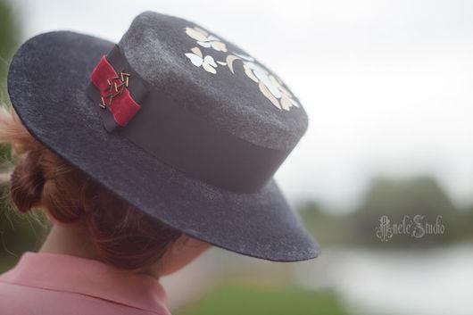 Шляпы ручной работы. Ярмарка Мастеров - ручная работа. Купить Шляпка канотье 16008. Handmade. Темно-серый, ретро, англия