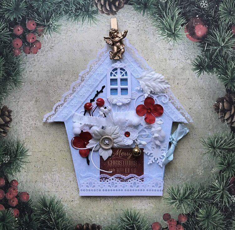 Новогодние открытки с домиком своими руками