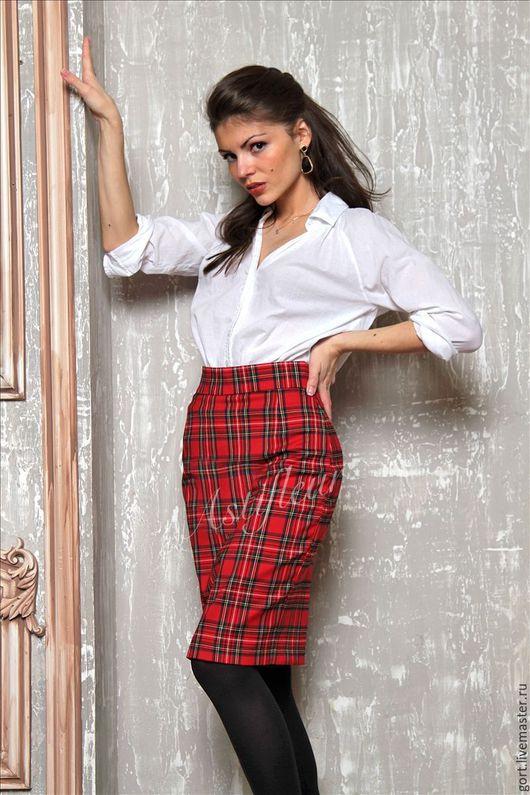 Теплая шерстяная юбочка миди длина полусолнце офисная шотландская клетка зимняя юбка теплая юбка по колено офисный стиль стиль зимы мода 2015 красная яркая клетка юбка из шерсти