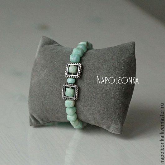 Авторский браслет, браслет из амазонита, мятный браслет, магазин браслетов, браслет в Москве, купить браслет, нежный браслет, серебряный браслет купить, браслет камни серебро