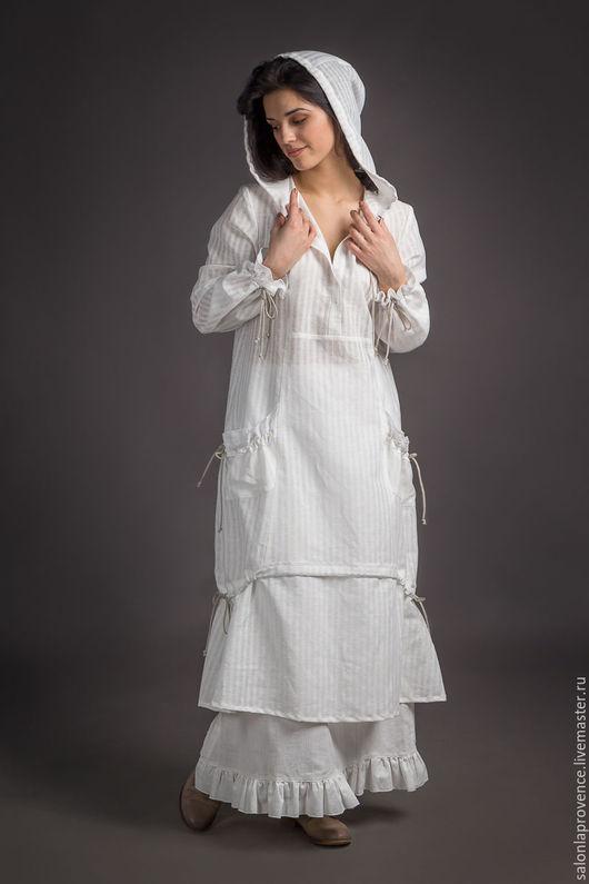 Платья ручной работы. Ярмарка Мастеров - ручная работа. Купить Платье с капюшоном и с юбкой. Handmade. Белый, платье с капюшоном