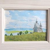 Картины и панно handmade. Livemaster - original item Russian landscape Orthodox Church watercolor painting 20h15cm in a frame. Handmade.