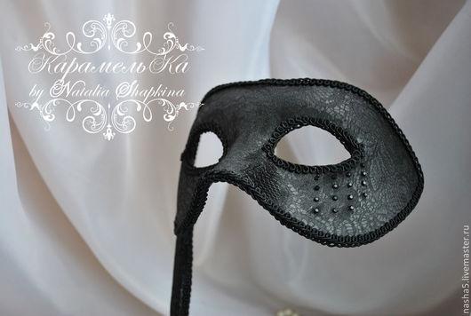 Аксессуары для фотосессий ручной работы. Ярмарка Мастеров - ручная работа. Купить Мужская свадебная маска в венецианском стиле. Handmade. Черный