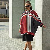 Одежда handmade. Livemaster - original item Anorak tunic with hood red and grey peas. Handmade.