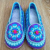 891117dd1c21ce Обувь ручной работы handmade. Livemaster - original item Knitted Slippers  with leather soles. Handmade