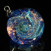 "Украшения handmade. Livemaster - original item Pendant ball ""Solar wind"". Space. Galaxy, planet. Cosmic Jewelry Blue. Handmade."