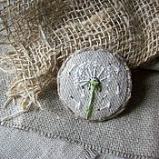 Украшения handmade. Livemaster - original item Linen brooch with embroidery... Air dandelion... Handmade.