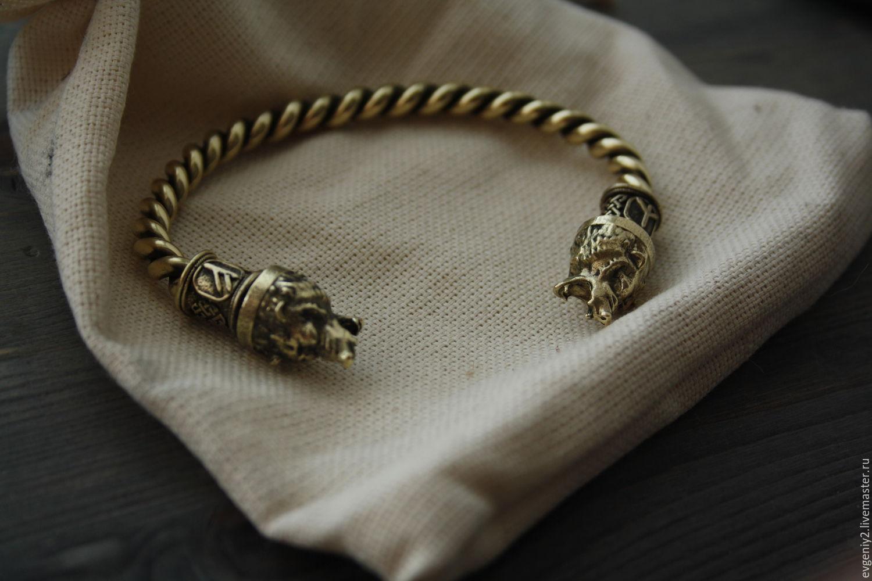 Бронзовый браслет ,браслет с медведям ,браслет викингов, Браслет из бусин, Волгоград,  Фото №1