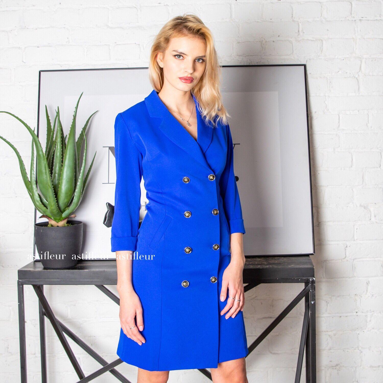 Платья ручной работы. Ярмарка Мастеров - ручная работа. Купить Платье  пиджак синий электрик. 2d205601102