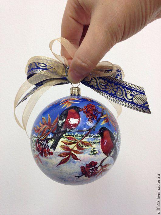 """Новый год 2017 ручной работы. Ярмарка Мастеров - ручная работа. Купить Новогодние шары.""""Снегири"""" и """"Снеговик"""". Handmade. Разноцветный"""