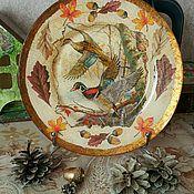 """Посуда ручной работы. Ярмарка Мастеров - ручная работа Подарочная тарелка """"Утки улетают""""!. Handmade."""