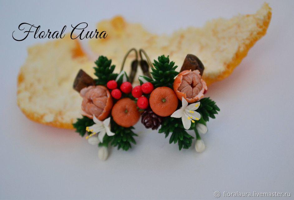 Polymer Clay Christmas Earrings.Christmas Earrings Tangerine