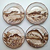 Посуда handmade. Livemaster - original item Painted porcelain Plates on the wall Fishing. Handmade.