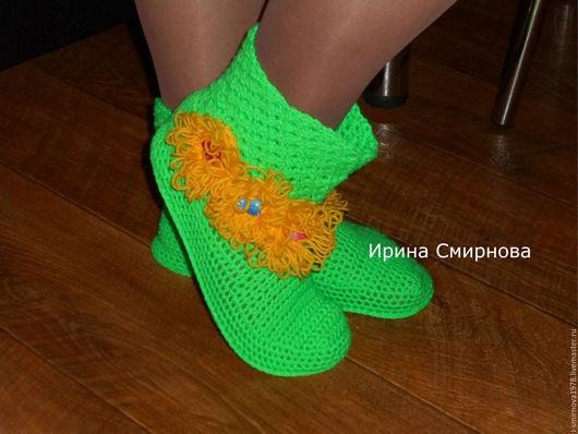 """Обувь ручной работы. Ярмарка Мастеров - ручная работа. Купить носочки """"Весна красна"""". Handmade. Ярко-зелёный, для женщины, войлок"""