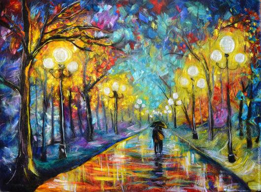 Люди, ручной работы. Ярмарка Мастеров - ручная работа. Купить Картина из шерсти Двое под зонтом в осеннем парке. Handmade.