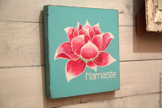 Интерьерные слова ручной работы. Ярмарка Мастеров - ручная работа. Купить Интерьерная вывеска Namaste. Handmade. Бирюзовый, буддизм, дерево