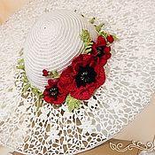 Аксессуары handmade. Livemaster - original item Knitted hat with poppies by Olga Lace. Handmade.