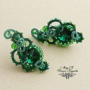 Украшения handmade. Livemaster - original item Earrings with Swarovski Emerald East e tatting. Handmade.