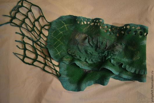 Шарфы и шарфики ручной работы. Ярмарка Мастеров - ручная работа. Купить валяный шарф Лесной мох. Handmade. Зеленый
