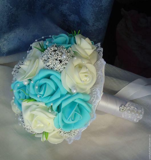Свадебные цветы ручной работы. Ярмарка Мастеров - ручная работа. Купить Букет-дублер невесты для  свадьбы тиффани. Handmade. Комбинированный