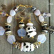 """Украшения ручной работы. Ярмарка Мастеров - ручная работа Комплект """"Цветочная мишка-панда"""". Handmade."""