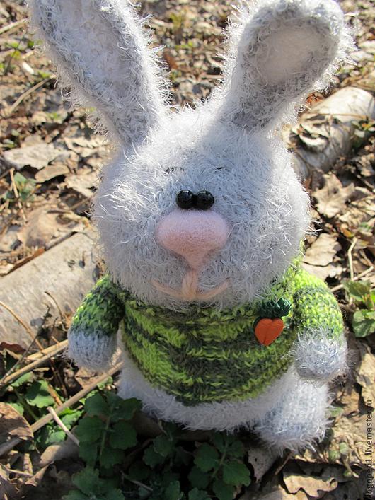 Игрушки животные, ручной работы. Ярмарка Мастеров - ручная работа. Купить заяц Пушистик. Handmade. Зайка, вязаная игрушка, детский