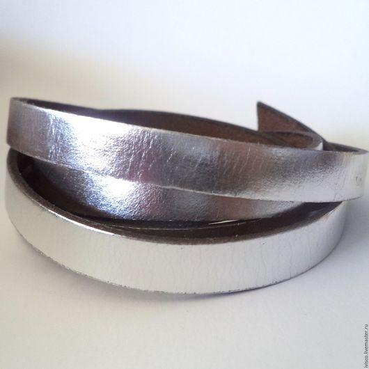 Для украшений ручной работы. Ярмарка Мастеров - ручная работа. Купить Кожаный шнур 10х2мм серебряный. Handmade. Кожаный шнур