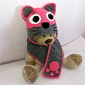 Работы для детей, ручной работы. Ярмарка Мастеров - ручная работа Детская шапка и шарф Кошка (зимняя теплая вязаная с подкладкой розовый. Handmade.
