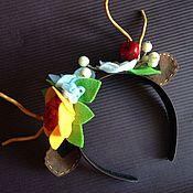 Аксессуары ручной работы. Ярмарка Мастеров - ручная работа Ободок с рожками и цветами. Handmade.