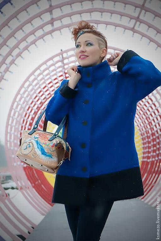 """Верхняя одежда ручной работы. Ярмарка Мастеров - ручная работа. Купить Полупальто  """"Мохер"""". Handmade. Синий, модное пальто, осень"""