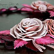 Украшения ручной работы. Ярмарка Мастеров - ручная работа Колье из кожи с розами Розовое Очарование. Handmade.