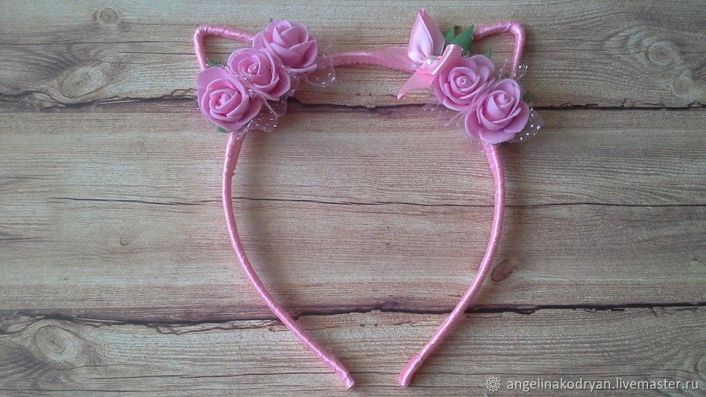 Headband pink cat ears shop online on livemaster with shipping headband pink cat ears anghelina kodryan online shopping on my mightylinksfo