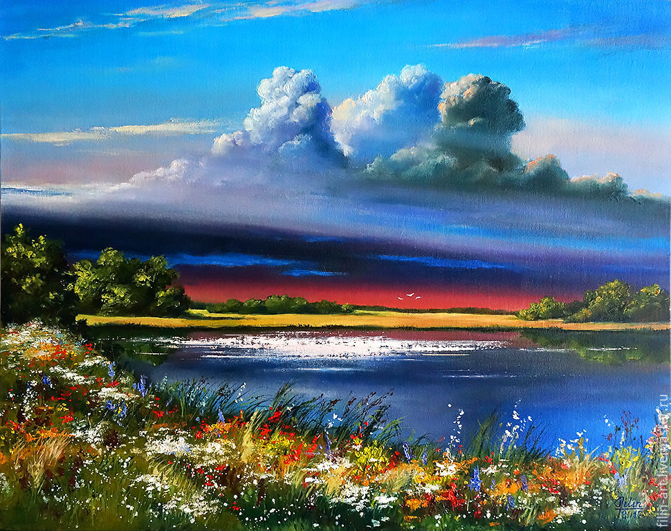 Landscape Cartoon of oil Free copy of artis Khovalchuk picture ...