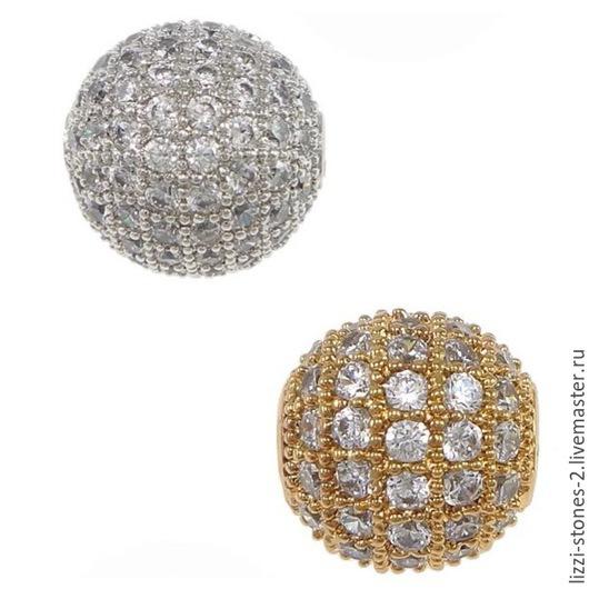 Бусина шар серебро и золото 8, 10 мм (Milano) Евгения (Lizzi-stones-2)