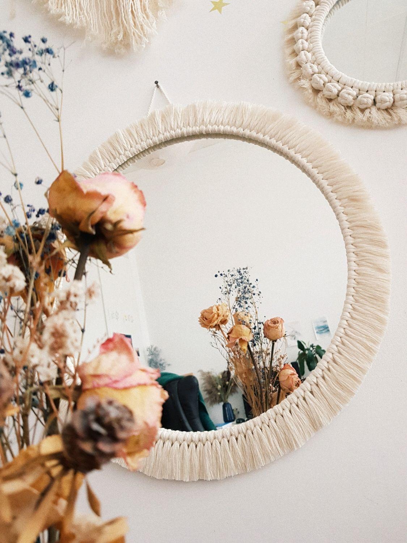 Круглое большое настенное зеркало макраме с бахромой, Зеркала, Санкт-Петербург,  Фото №1