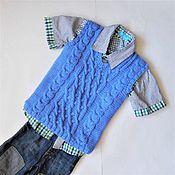 Работы для детей, handmade. Livemaster - original item Knitted blue vest for a boy 4-5 years., height 104 cm. Handmade.
