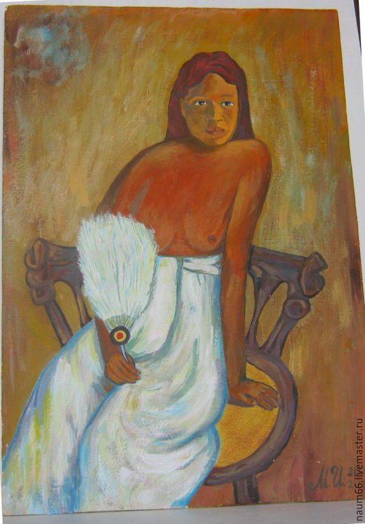 """Люди, ручной работы. Ярмарка Мастеров - ручная работа. Купить """"Девушка с веером"""" Картина акрилом. Handmade. Комбинированный, портрет, картины"""