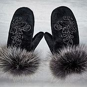 Аксессуары handmade. Livemaster - original item Cashmere mittens with fur. Handmade.