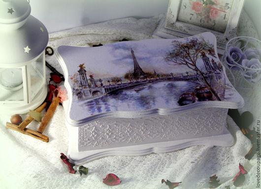 """Шкатулки ручной работы. Ярмарка Мастеров - ручная работа. Купить Чайная коробка """"Нежность Парижа"""". Handmade. Париж, белый"""