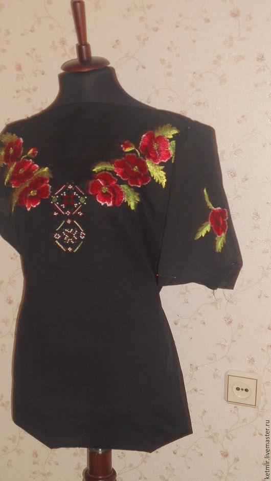 Блузки ручной работы. Ярмарка Мастеров - ручная работа. Купить вышитая шелком заготовка на блузку или тунику. Handmade. Черный