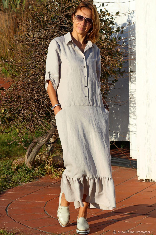 143a4ee1506 Платья ручной работы. Ярмарка Мастеров - ручная работа. Купить Длинное  платье рубашка из вареного ...