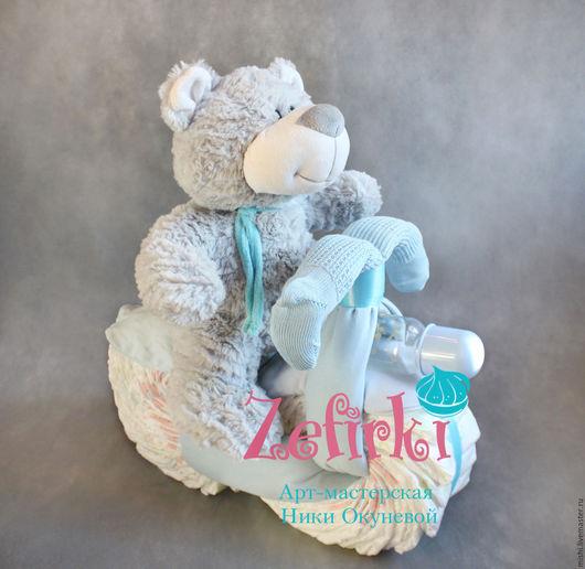 Подарки для новорожденных, ручной работы. Ярмарка Мастеров - ручная работа. Купить Мотоцикл из памперсов подгузников подарок новорожденному велосипед. Handmade.