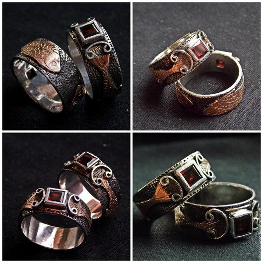 Кольца в серебре с золотыми накладками (пластины) `Карпы Кои` с аквамарином (камень можно вставить по Вашему желанию). Используется художественная обработка металла-чеканка,гравировка. Цена за одно ко