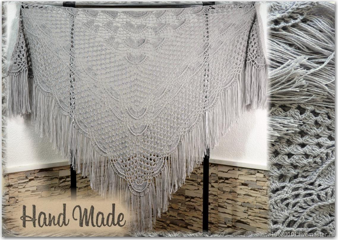 ELES Crochet Shawl 200*110 cm Openwork Triangular with Tassels #14, Shawls, Nalchik,  Фото №1