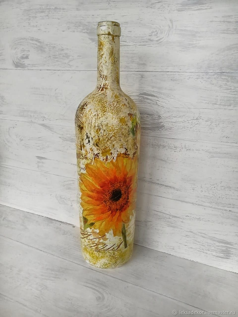 Bottle-vase with sunflowers. . Glass. 1 litre, Vases, Moscow,  Фото №1