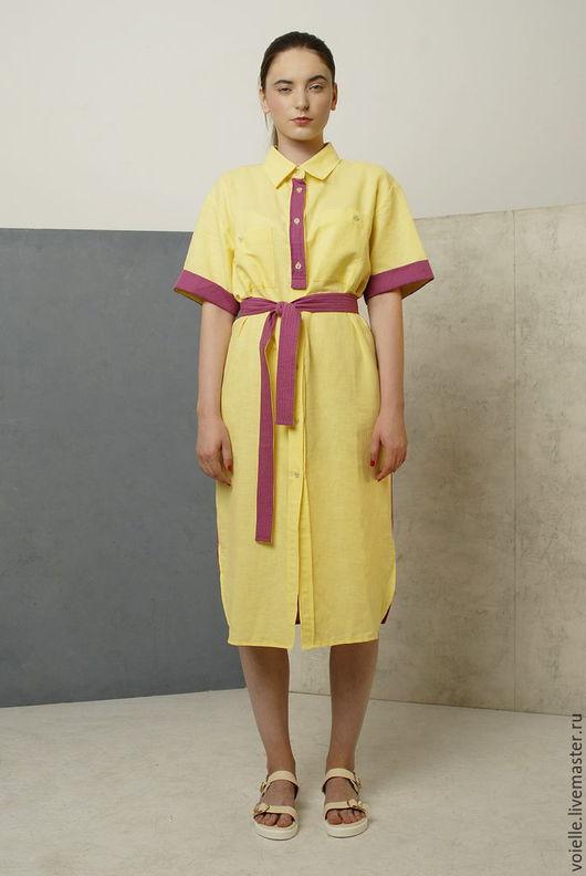 Платье рубашка желтое и фуксия двухцветное летнее из льна и хлопка комбинированное.