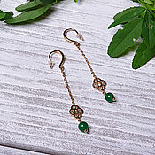 Earrings handmade. Livemaster - original item Long East earrings with green beads. Handmade.