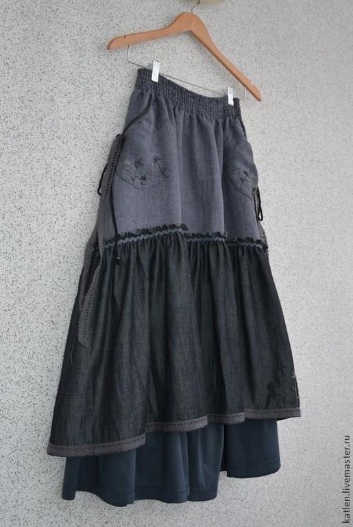 """Юбки ручной работы. Ярмарка Мастеров - ручная работа. Купить Юбка в пол джинсовая """"Проталины"""". Handmade. Юбка, длинная юбка"""